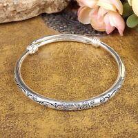 Vintage Tibetan Silver Cuff Bangles Carved Bohemian Women Bracelets