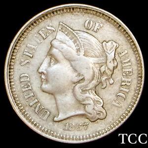 1867 THREE CENT NICKEL ~ BEAUTIFUL ORIGINAL TYPE COIN ~ TCC