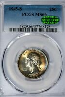 1945-S 25C Washington Quarter PCGS MS66 *CAC-Verified* Color-Toned Premium Gem!