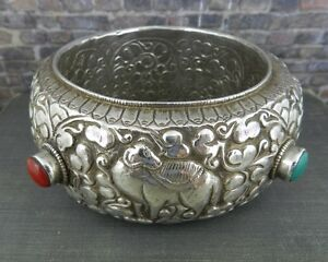Hand Made Sterling Silver Wide Ornate Animal Bangle Bracelet w Turquoise & Coral