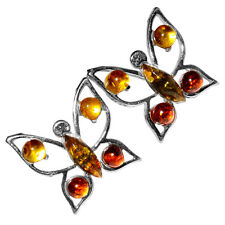 2.28g Butterfly Authentic Baltic Amber 925 Silver Earrings Jewelry A8490
