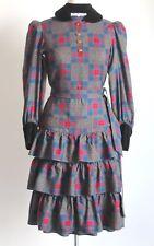 Vintage Saint Laurent Rive Gauche Velvet Collar Prairie Dress FR 34 Uk 6/8