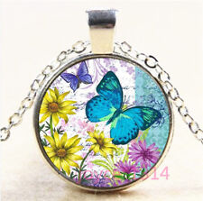 Butterfly Cabochon Silver/Bronze/Black/Gold Glass Chain Pendant Necklace #7217