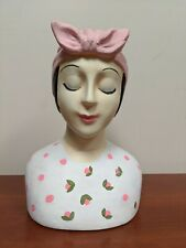 Vintage Hand Painted Hard Resin Plastic Mannequin Head Display Jewelry Stand Diy