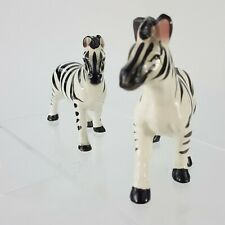 "Vintage Zebra 3.5"" Figurine 2pc Set Porcelain w Pink Ears Safari Animal"