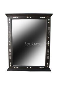 Antique Indian Mother of Pearl Inlay Black Mirror Frame
