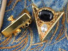 NEW SMALL  HANDCRAFTED BLACK ONYX COLLAR TIPS GOLD METAL,WESTERN, LADIES / MENS