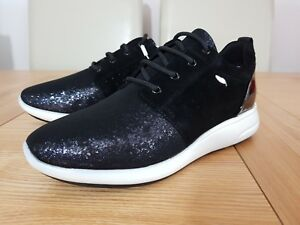 Geox Respira Ophira A Black Glitter and Suede Lace Up Low Top Womens Trainers