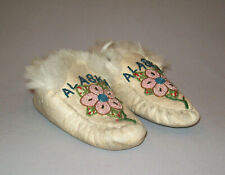 Antique Early 1900's Native American Alaska Beaded Moccasins Eskimo Indian Nice