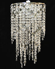 CHANDELIER LARGE CLEAR SMOKEY CHROME JEWELLED ACRYLIC PENDANT CEILING SHADE
