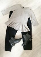 Hobbs Peplum ladies Grey Top Wool Blend Size 12 3/4 Sleeves Fashion Career