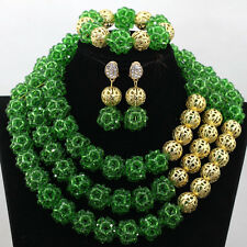 Green Balls Gold Ball African Nigerian Beads Bridal Wedding Jewelry Necklace Set