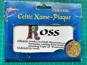Ceramic Scottish Celtic Name-Plaque Ross Door Sign Gift