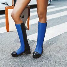 Women Vintage Patchwork Low Heels Zipper Knee High Boots Punk Fashion Shoes Blue