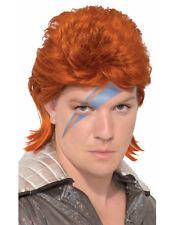Orange Rock Star Mens Adult David Bowie Costume Wig Accessory
