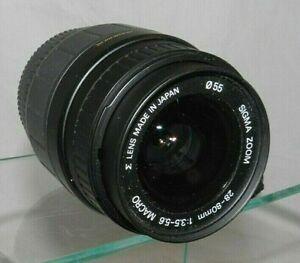 SIGMA ZOOM Aspherical 28-80mm 1:3.5-5.5 MACRO Minolta Mount SLR 35mm Camera Lens