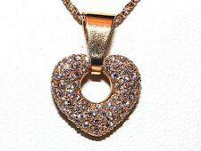 18CT 18KT YELLOW GOLD 0.45CT  DIAMOND HEART PENDANT & 18CT GOLD CHAIN NECKLACE