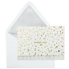 Hallmark Thank You Cards Signature (8) Confetti Metallic Gold/Silver w/Envelopes