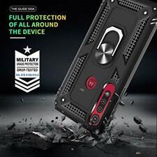 Motorola Moto G8 Play Case Shock Absorption Bracket Cover Ring Kickstand Black