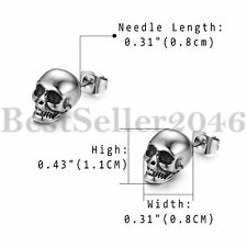 Men's Punk Stainless Steel Stud Earrings Skull Gothic Biker Back Piercing 2pcs