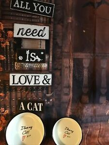 New Rustic Metal Chain Hanging Cat Plaque & Two I Love ❤️ My Cat Ceramic Bowls