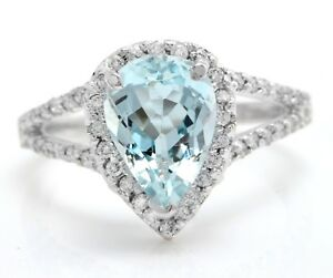 3.68 Carat Natural Blue Aquamarine and Diamonds in 14K Solid White Gold Ring