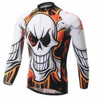 Men/'s Skull Cycling Jersey Long Sleeve Road Bike Clothing Cycle Top Shirt S-5XL