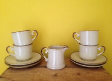 Retro 70's look beige brown stonewear handpainted set 4 cups saucers milk jug