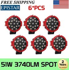 6x 7inch 51W Round Off Road Led Work Lights for Jeep UTV Bumper Driving Red Lamp