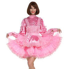 Sissy Girl Maid Baby Pink Long Sleeve Lockable Puffy Dress Crossdress Unifrom