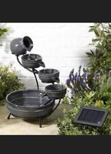 Smart Solar 4-Tier Granite Cascade Ceramic Water Fountain Solar Powered - 0853
