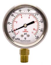 """2-1/2"""" Oil Filled Vacuum Pressure Gauge - SS/Br 1/4"""" Lower Mount -30HG/160PSI"""