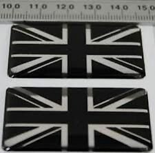 2 x UNION JACK BLACK SILVER GB 3D CAR BADGE LAND ROVER SELF ADHESIVE 50x30mm