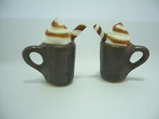 2 Metallic Cups of Cappuccino Dollhouse Miniatures Food Supply Deco