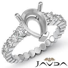 Diamond Engagement Pear Semi Mount Shared Prong Set Ring Platinum 950 0.70Ct