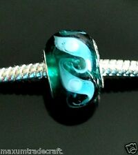 10pcs handmade dark green murano glass charm beads fit european snake 925 chain
