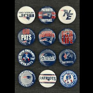New England Patriots - 1 1/2 Inch Buttons - Set of 12