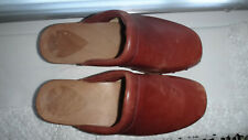 """Dr.Scholl's Leather/wooden Block Chunky 2"""" Heel Clogs Mules UK 3 EU 36"""