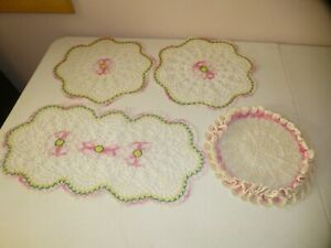 Vintage Lot Set of 3 Plus 1 Crocheted Lace Doilies Handmade Pink Flowers White