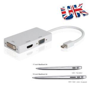 3 in 1 Mini Displayport Thunderbolt HDMI/DVI/VGA Adapter For Macbook Pro Air Mac