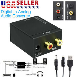 Optical Coaxial Toslink Digital to Analog Audio Converter Adapter RCA L / R USA
