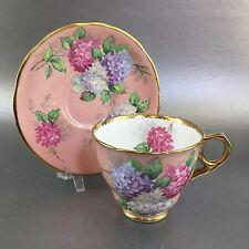 Royal Stafford Carousel Floral Pink & Purple Tea Cup & Saucer England Teacup
