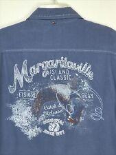 Margaritaville Catch & Release Fishing Team Hawaiian Camp Button Buffett Shirt