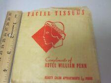 Vtg Art Deco Design Antique Facial Tissues Hotel William Penn Original Package