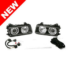 92-98 BMW E36 Black Housing Projector Head Lights Pair Ellipsoid Pair by DEPO
