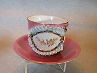 ggg102 ANTIQUE VICTORIAN CUP & SAUCER, pink lustre, raised gold design DEMITASSE