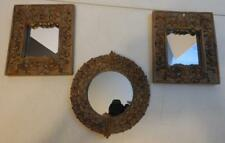 SET OF 3 BRONZE COLORED ORNATE RESIN FRAMED DECORATIVE WALL MIRRORS