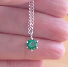 Buy green emerald fine necklaces pendants ebay 925 emerald lab created solitaire pendant 18 chainemerald necklace aloadofball Image collections