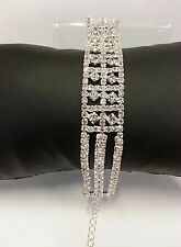 Charming bridal bracelet with diamonte rhinestones in silver colour