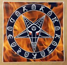 """Pentagram Fire Poster Red Eyes 24"""" x 24"""" Evil Art Devil Fire Pentagram Halloween"""
